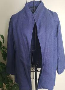 Eileen Fisher Linen blend dark blue open cardigan